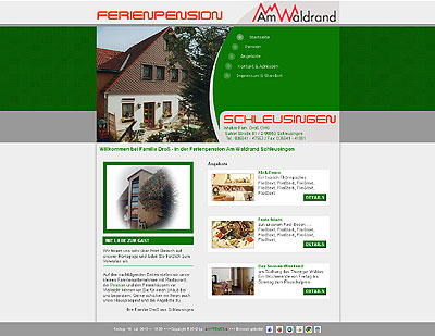 Webprojekt Pension am Waldrand